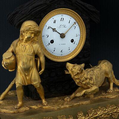 "Antique French pendulum clock ""Little Red Riding Hood"" LeRoi, montre horloge 6"
