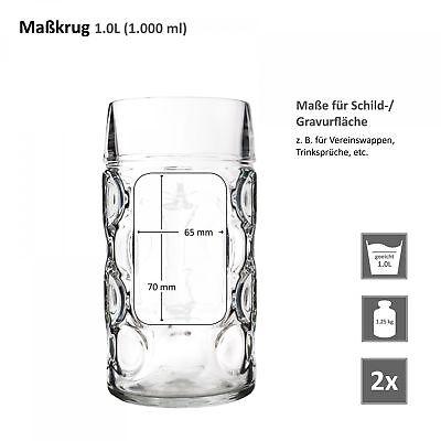 2er Set Maßkrug 1 L geeicht Bierkrug Glas Bierglas Glaskrug Maß Bier Maßkrüge 7