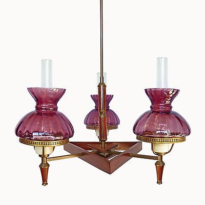 Antique French Art-Deco Purple Amethyst Glass Shades / Wood and Brass Chandelier 8
