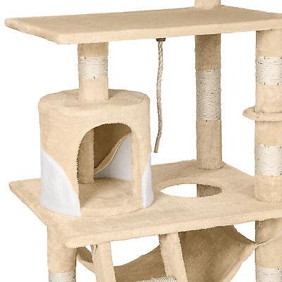 Arbre à chat griffoir grattoir geant avec hamac lit 141 cm hauteur beige blanc 5