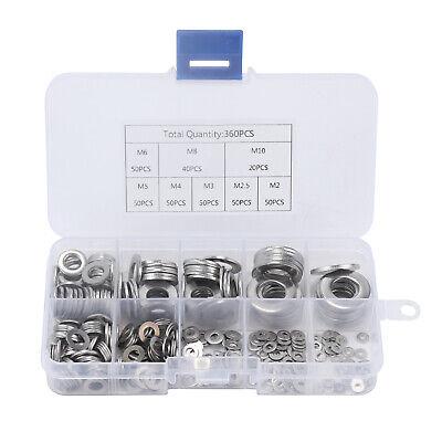 360Pcs Stainless steel Flat Washers Sealing Ring Washers Assortment Set 8 Size 2