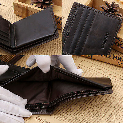 Genuine Leather Mens Purse Bifold Credit Card Wallet RFID Blocking Anti Scan OZ 4