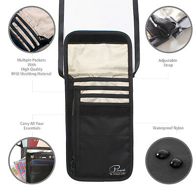 Travel Neck Pouch Passport Holder RFID Blocking Wallet ID Cards Orgainzer Bag 5
