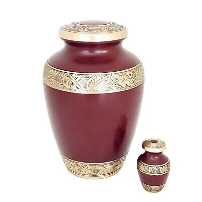 Well Lived® Red and Brass Small Keepsake Cremation Urn for human ashes 3