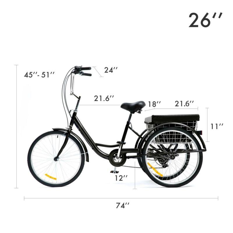 "26""/24""/20"" 8 Speed Adult Trike Tricycle 3-Wheel Bike w/Basket for Shopping 12"