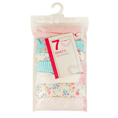 Girls 7 Pack Briefs Knickers Ex Uk Store Cotton Pants 2-13Y Colours/Whites Bnwt 3