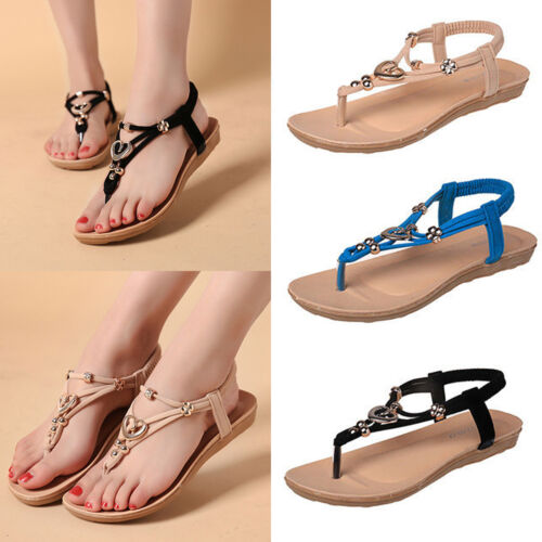 59d2a62b29ac Boho Women Clip Toe Sandals Summer Flats Beach Thong Shoes Slippers Flip  Flops 10 10 of 12 ...