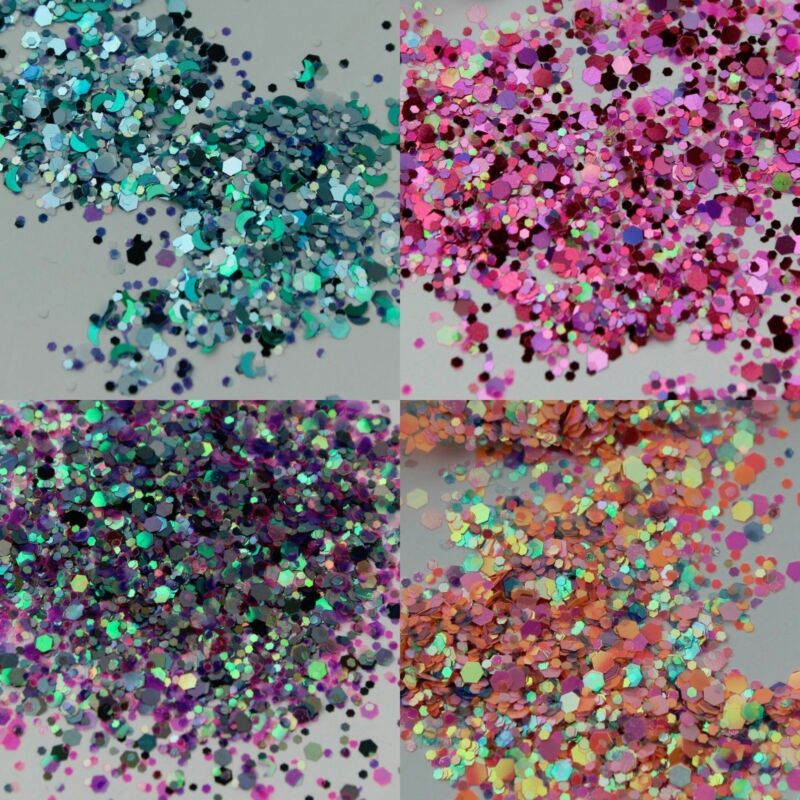 10g/bag Chunky Glitter Mixed Holographic Flake Body Art Nail Cosmetic Tattoo Art 2