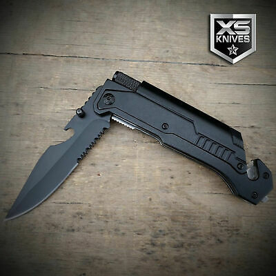 Black EDC Spring Assisted LED Multifunction Pocket Knife Survival MULTI TOOL 4