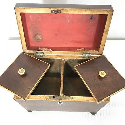 Antique Regency Mahogany Satinwood Inlaid Brass Mounted Two Section Tea Caddy 10