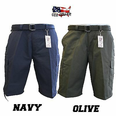 6191ce5afb ... Men Big and Tall BTL Cargo Shorts With Belt Cotton Twill 18 Colors Size  44 ~