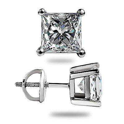 adfdfa92a ... 1.50 Ct Princess Cut Lab Diamond Stud Earrings Solid 14K White Gold  Screw Back 2