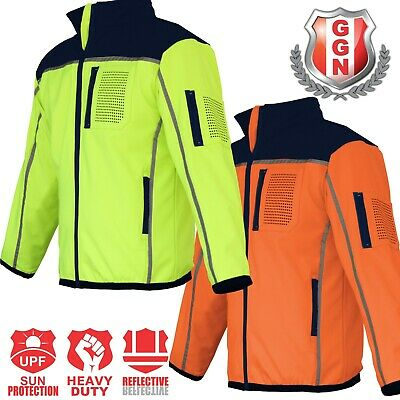 HI VIS Safety Jacket Soft Shell Windproof Work Wear Reflective bomber flying 2