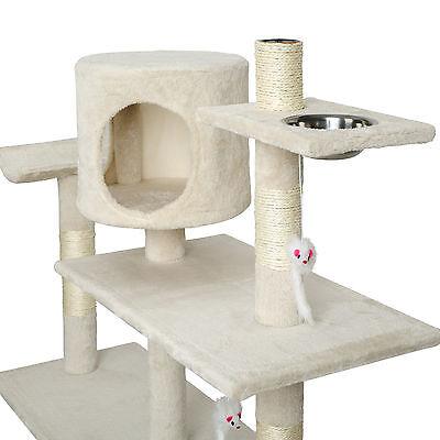 Arbre à chat xxl griffoir grattoir geant avec 2 grottes beige 3