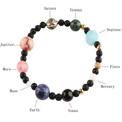 Neue Weben Armband Galaxy Sonnensystem Acht Planeten Thema Naturstein Perlen DE 2