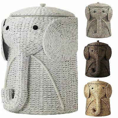 Elephant Hamper Wicker Laundry Basket Clothes Bin Lid Woven