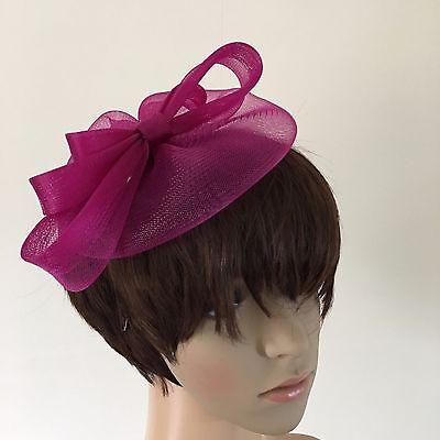dark pink plum purple fascinator millinery burlesque wedding hat ascot bridal 2