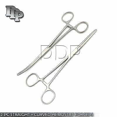 """New 2pc Set 8"""" Straight + Curved Hemostat Forceps Locking Clamps Stainless 3"""