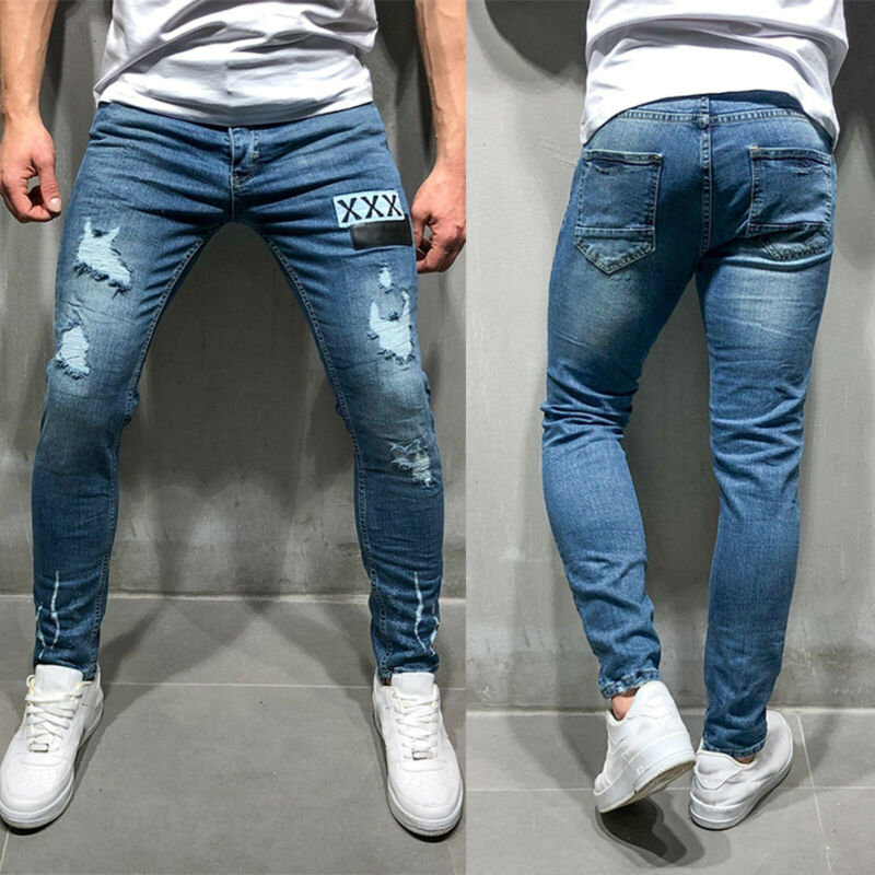 Mens Boys Stretch Skinny Ripped Jeans Biker Frayed Denim Leisure Tight Trousers 4