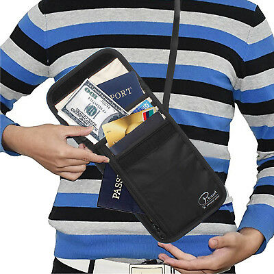RFID Blocking Neck Stash Pouch Travel Wallet Holder Bag Money Cord Passport Hold 6