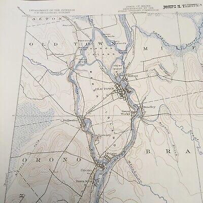 Vintage Original 1936 Maine Penobscot County Orono ME USGS Quadrangle Map 8