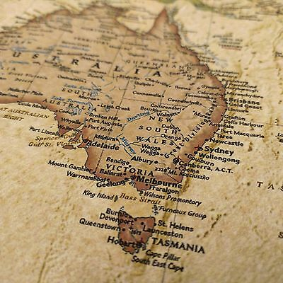 Vintage world map poster canvas detailed center australia waterproof 2 of 3 vintage world map poster canvas detailed center australia waterproof map wall gumiabroncs Image collections
