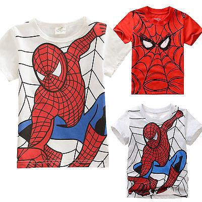 Kids Boy Spiderman T-shirt Cartoon Short Sleeve Casual Tops Summer Clothes 2-7 Y 2