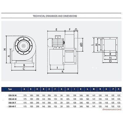 Extracteur d'air Industriel Radial VENTILATEUR CENTRIFUGE Aspiration ventilation 3