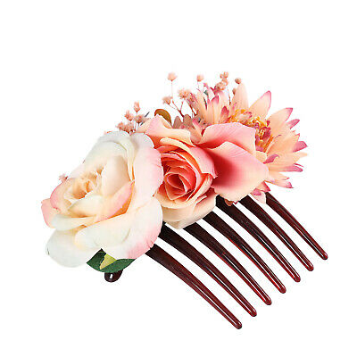 Women's Flower Hair Comb Slide Clips Pins Wedding Bridal Hair Accessories Party 9