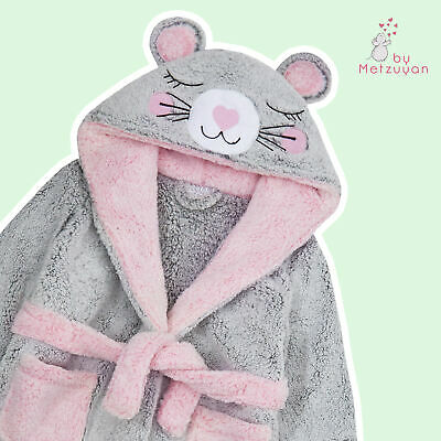 Girls Dressing Gown Novelty Mouse Kids Hooded Robe Fluffy Thick Snuggle Fleece 3