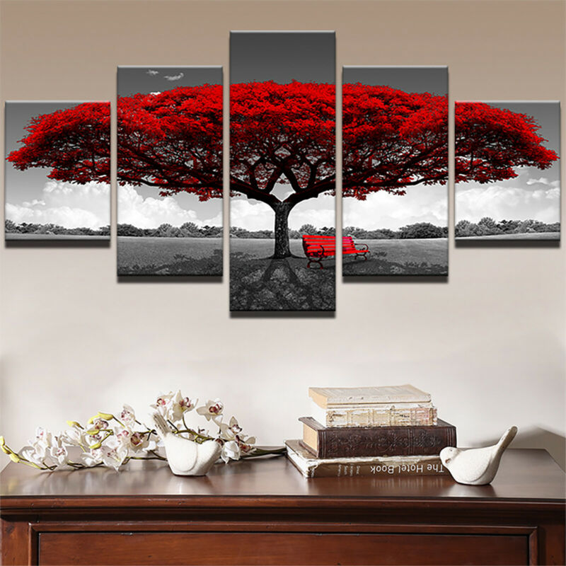 5 Panels Unframed Modern Canvas Art Oil Painting Picture Room Wall Hanging Decor 3