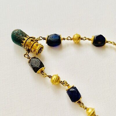 BEAUTIFUL Ancient Roman Gold Pendant Necklace With Green And Blue Glass Beads 2