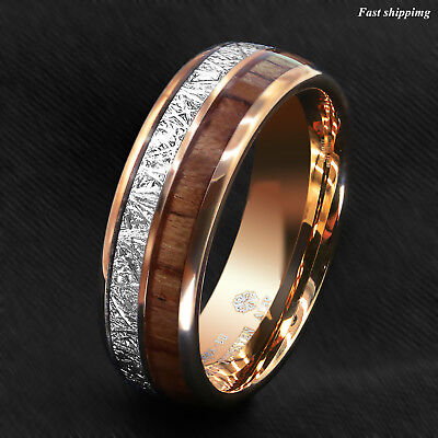 8/6mm Rose Gold Dome Tungsten Ring Silver Koa Wood Inlay Bridal ATOP Men Jewelry 3