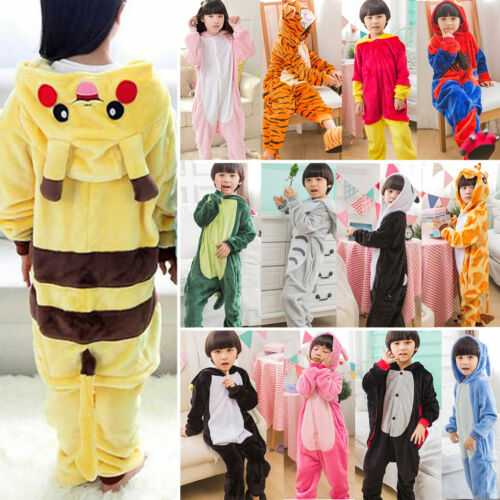 Kids Girls Boys Unicorn Animals Kigurumi Cosplay Costume PJ's Sleepwear Overalls 2