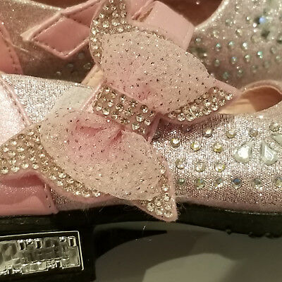 GIRLS PARTY SHOES - size 29 Pink with lots and lots of Crystals - Velcro Fasten 6