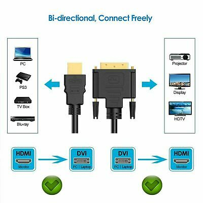 Câble adaptateur DVI vers HDMI de 1.8m câble DVI-D GOLD 24+1PIN 3