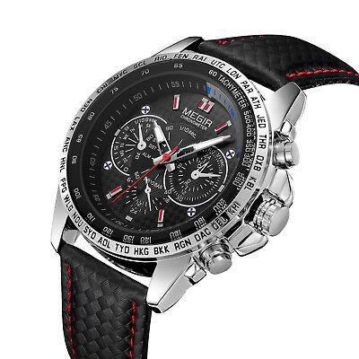 MEGIR Men's Stainless Steel Analog Waterproof Sports Quartz Military Wrist Watch 3