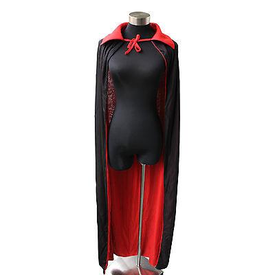 Halloween Black Red Vampire Cape Reversible Dracula Devil Cloak Fancy Costume