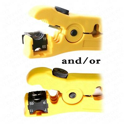 Coaxial Cable Stripping Tool RG6 RG11 RG59 RG7 Wire Cutter Stripper + connectors 5