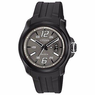 Citizen Eco-Drive Men's AW1354-15H HTM Charcoal Grey Dial Black Strap 43mm Watch 2