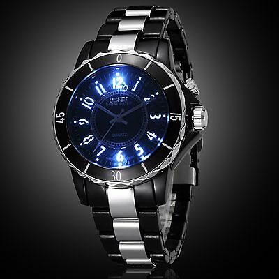 OHSEN Men's 7 LED Backlight Stainless Steel Sport Quartz Wrist Watch Waterproof 2