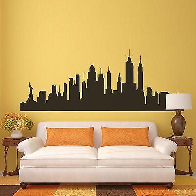NEW YORK CITY Skyline Wall Sticker NYC Silhouette Inspired Vinyl ...