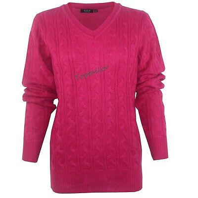 Ladies Womens V Neck Cable Knit Long Sleeve Knitted Jumper Sweater Top Quality 5
