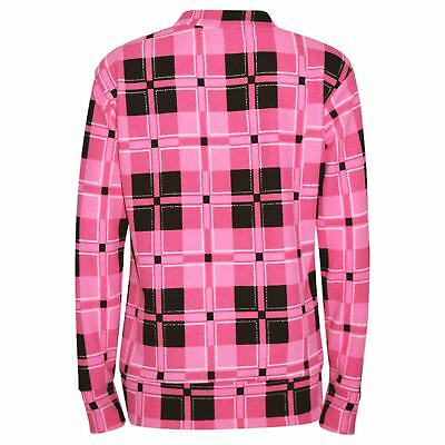 Girls Tracksuit Kids Pink Checked Print Lounge Suit Top Bottom Joggers 7-13 Yr 3