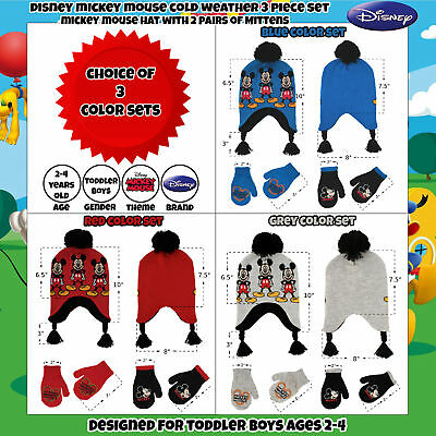 205812af059 3 of 11 Disney Little Boys Mickey Mouse Hat and 2 Pair Gloves Mittens Cold  Weather Set