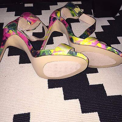 d29f500c205 ... Steve Madden Floral Marlenee Stiletto Heels OpenToe Womens 10 Green  Yellow Pink 4
