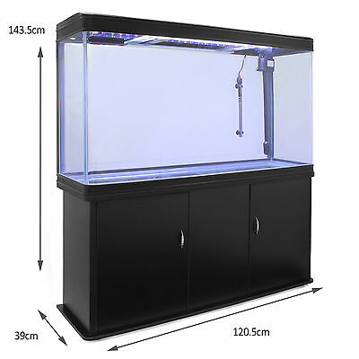Fish Tank Aquarium Black Cabinet Complete Set Up Tropical Marine 300 Litre 4ft 5