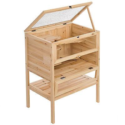 Cage en bois 4 étages pour petits rongeurs animaux hamsters lapin clapier