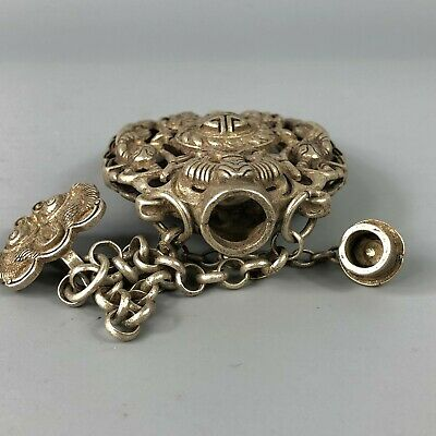 Chinese Collectible Old Tibet Silver Copper Handwork Flowers Spice Box 7