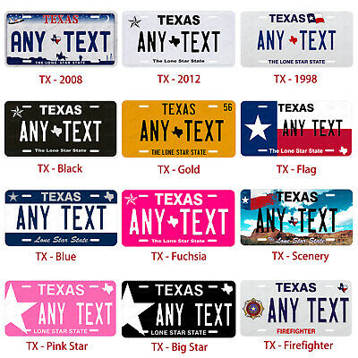 Custom TEXAS License Plate Tag Personalized for Auto Car Bicycle ATV Bike Moped 2